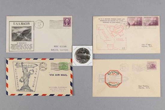 U.S.S. Macon Envelopes, 1930's & Sterling Commemorative Medal
