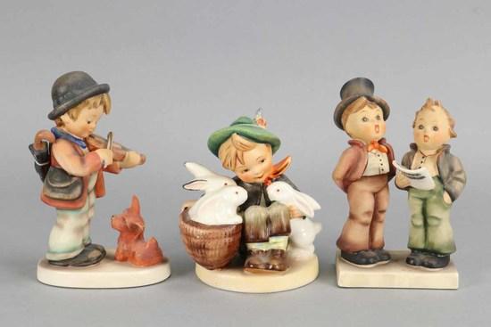 "Hummel Figurines: ""Duet"", ""Playmates"" & ""Fiddler with Dog"""