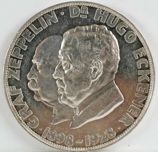 Graf Zeppelin 1898-1928 Silver Commemorative Medal, Ca. 1929