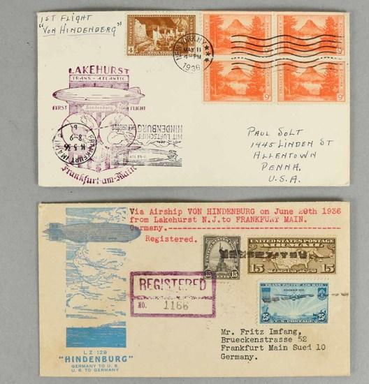 Airship Hindenburg Air Mail Envelopes, 1936