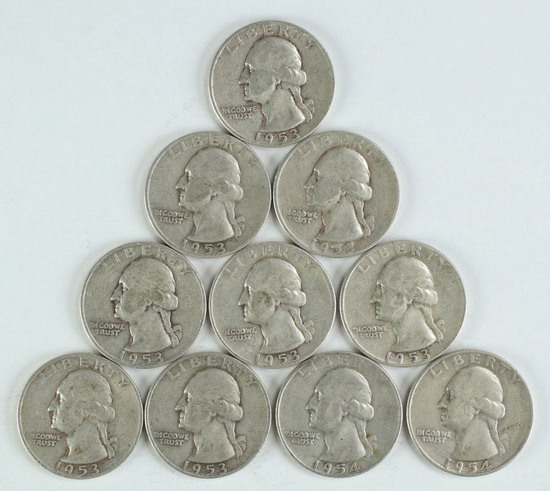 10 Washington Silver Quarters, various dates/mints