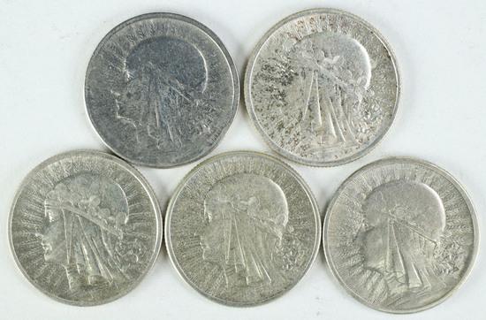 """5 - Poland 2 Zlote Silver Coins; 2-1932, 1933, 2-1934, """"Queen Jadwiga"""""""