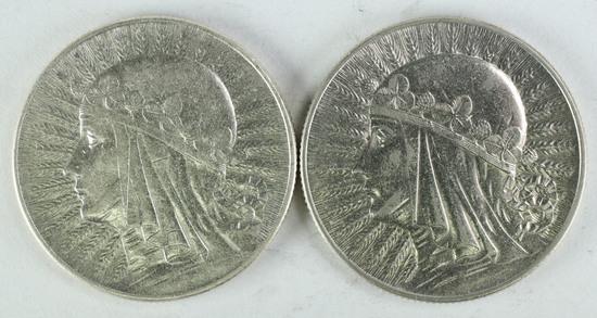 "2 Poland 5 Zlotych 1932/1933, ""Queen Jadwiga"""