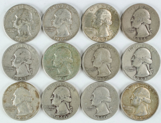 12 Washington Silver Quarters, various dates/mints