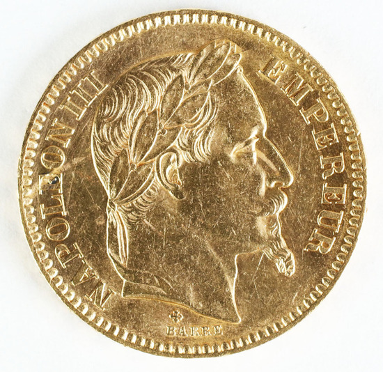 1863BB France Gold 20 Francs, Napolean III