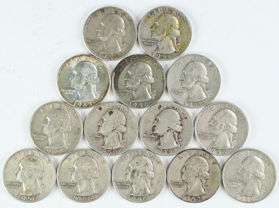 14 Washington Silver Quarters, various dates/mints