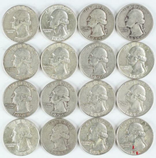 16 Washington Silver Quarters, various dates/mints
