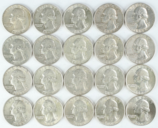 20 - 1964 Washington Silver Quarters