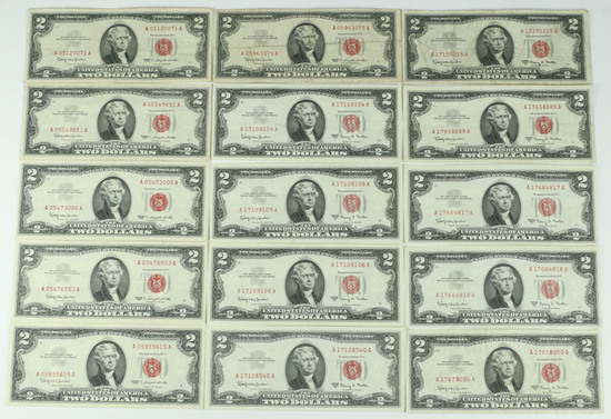 15 - 1963 $2 Red Seal Notes; 6-1963, 9-1963A