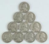 10 Washington Silver Quarters, various dates/mints