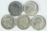 5 - Poland 2 Zlote Silver Coins; 2-1932, 1933, 2-1934,