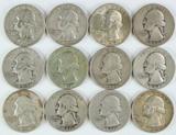 12 Washington Silver Quarters, various dates/mints