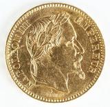 1863BB France Gold 20 Francs, Napolean III