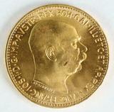1915 Gold Austria 20 Corona ; Franz Joseph I Coin