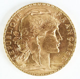 1910 Gold 20 Francs Rooster Coin; Republique of Francaise