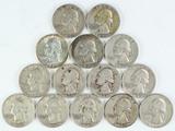 14 Washington Silver Quarters, various dates/mints