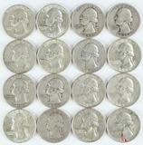 16 Washington Silver Quarters, various dates/mints