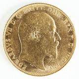 1907 Gold Britian Half Sovereign King Edward VII Coin
