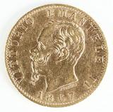 1867 Gold Sardinia Italu 20 Lire Vittorio Emanuele II Coin