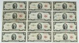 12 - 1953 $2 Red Seal Notes; 4-1953A, 4-1953B, 4-1953C