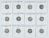 12 Barber Dimes, various dates/mints