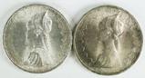 2 - 1966 R 500 Lire Republica Italiana Silver Coins (.8350)
