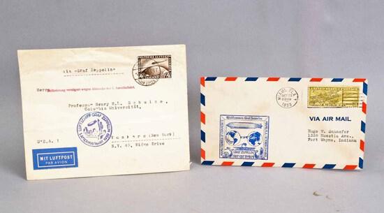 2 Graf Zeppelin Post Marked Envelopes, Ca. 1929, 1933
