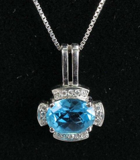 14k Gold Aquamarine Necklace w/ Diamonds, 3.7 Grams