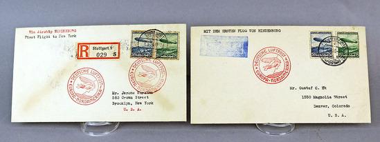 2 Hindenburg Air Mail Envelopes, May 1936