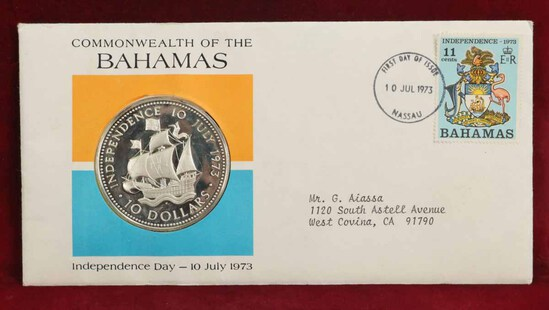 Commonwealth of Bahamas Independence Day Silver Coin - Cover