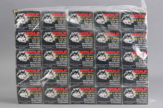 500 Rounds 7.62 x 39 Wolf 122 Gr. FMJ Ammo