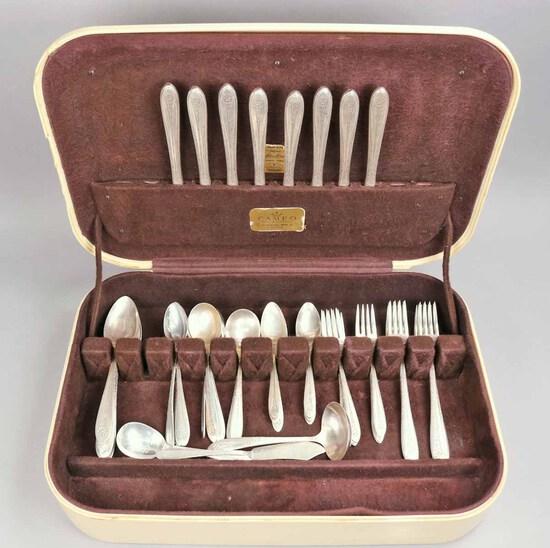 """1938 National Sterling Silver """"Margaret Rose"""" Flatware Set, 1,873.7 Grams"""