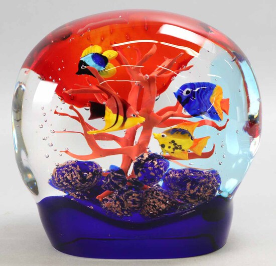 "Murano Art Glass ""Fish & Coral"" - Italy"