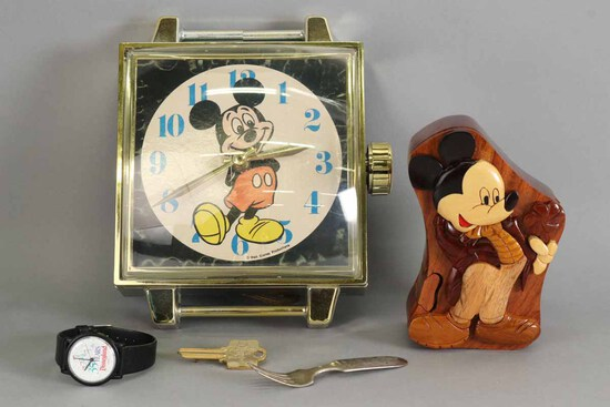 Mickey Mouse - Disney Items: Wall Clock, Swatch, Puzzle Box, Fork & Key