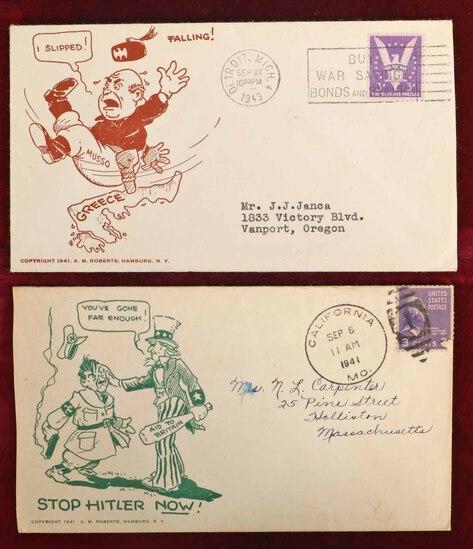 WWII Ephemera:  Hitler & Mussolini Envelopes, Ca. 1941