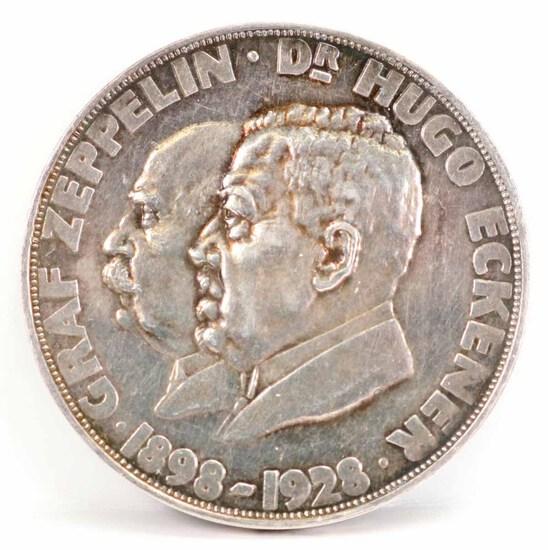 Graf Zeppelin 1898 - 1928 Silver Commemorative Medal, Ca. 1929