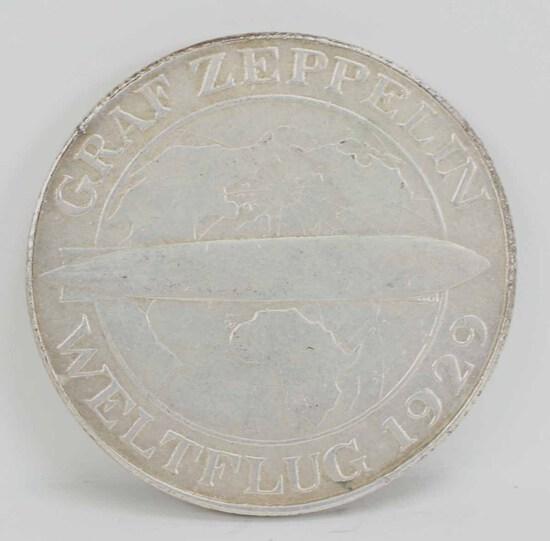 1930A Graf Zeppelin 5 Mark Coin, Germany