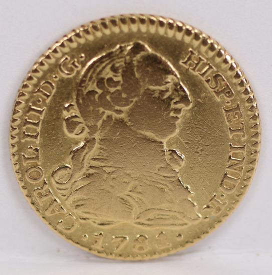 1781 Carlos III Gold 1 Escudo, Seville Mint