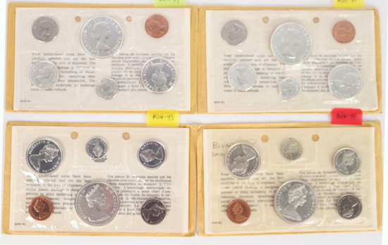 4 Canadian Silver Proof Like Sets; 2-1964, 2-1965