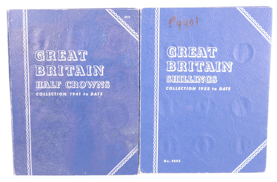 2 Blue Books - Great Britain Half Crowns 1941-date; Shillings 1953-date