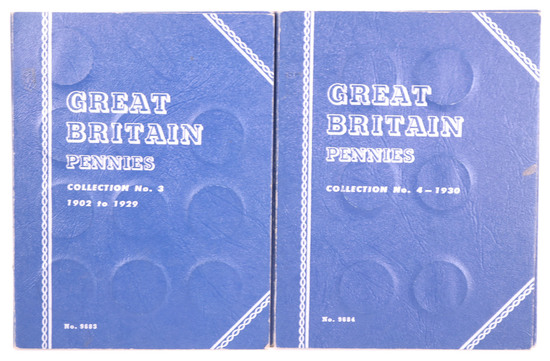 2 Blue Books of Great Britain Pennies, 1902-1929 & 1930-date