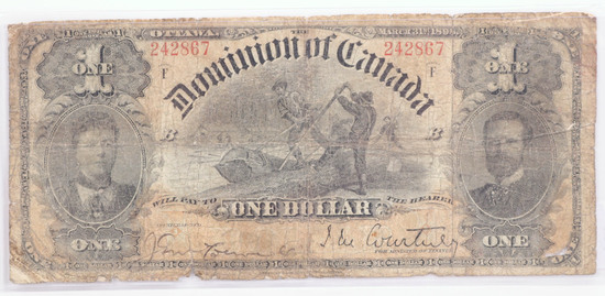 1898 $1 Dominion of Canada Large Size Bank Note