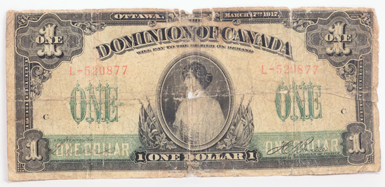 1917 $1 Dominion of Canada Large Size Bank Note