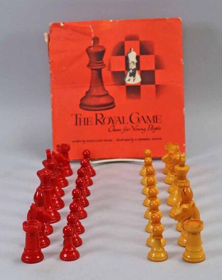 Bakelite Chess Pieces w/ Book