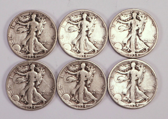 6 1934  S Walking Liberty Half Dollars