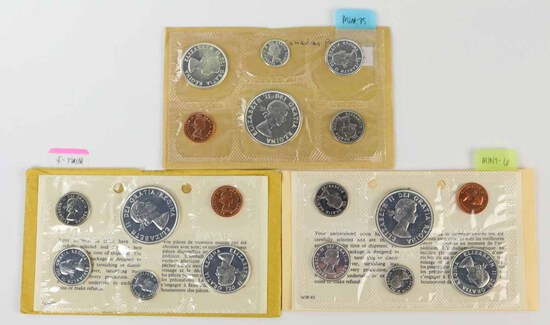 3 Canadian Silver Proof Like Sets; 1963, 2-1964
