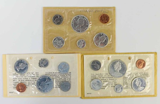 3 Canadian Silver Proof Like Sets; 1963,1964, 1965