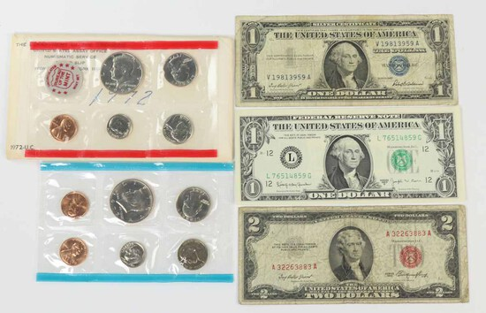 1972 UC Mint Set, 1957 $1 Blue Seal, 1963-B $1 Barr Note,1953 $2 Red Seal