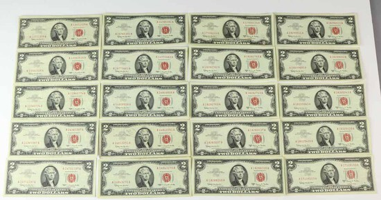 20 $2 Red Seal Notes; 10-1963 & 10-1963-A