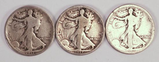 3 1917 P/D/S Walking Liberty Half Dollars